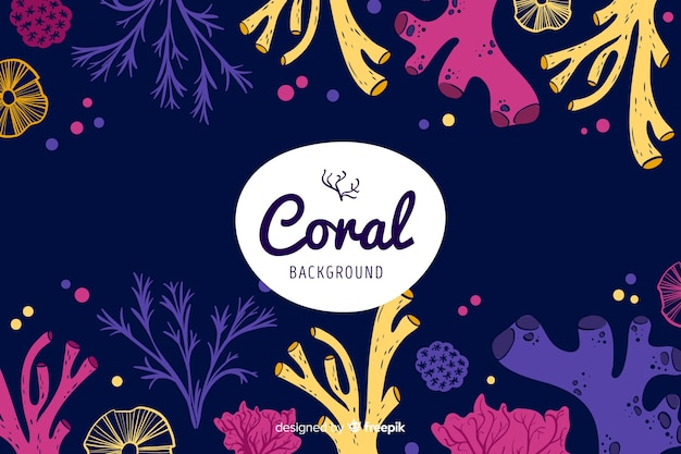 Hand drawn dark coral background