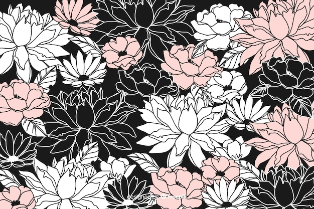 Hand drawn dark floral background