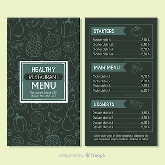 Hand drawn dark healthy menu template