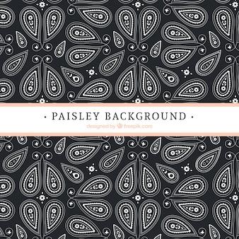 Hand drawn dark paisley background