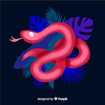 Serpente scuro disegnato a mano con sfondo di foglie