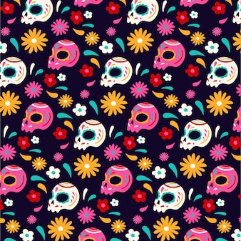 Hand drawn day of the dead pattern template