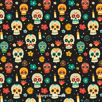 Hand drawn day of the dead pattern