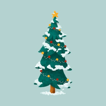Hand drawn decorated christmas tree illustration