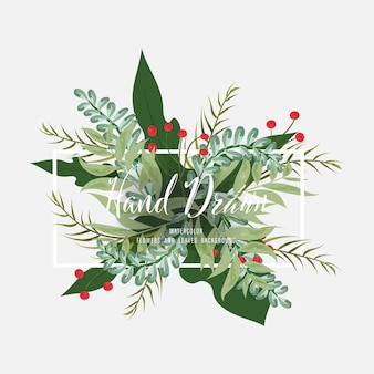 Hand drawn decoration painted watercolor floral leaves and branches vintage style.