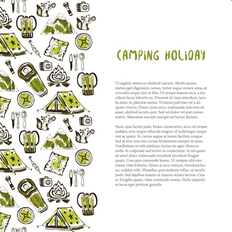 캠핑 휴가 요소와 손으로 그린 장식입니다. 여름 휴가 배경. 벡터 여행 템플릿
