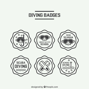 Hand drawn decorative badges of diving