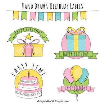 Hand drawn decorative birthday stickers