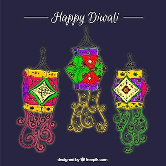 Hand drawn decorative colored lanterns