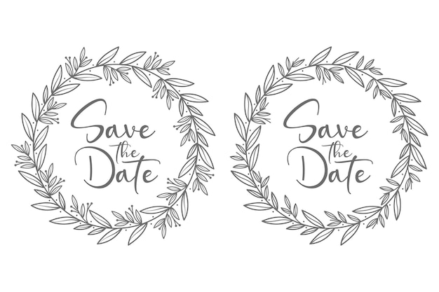 Hand drawn decorative concept beautiful and minimal wedding badges with circle style