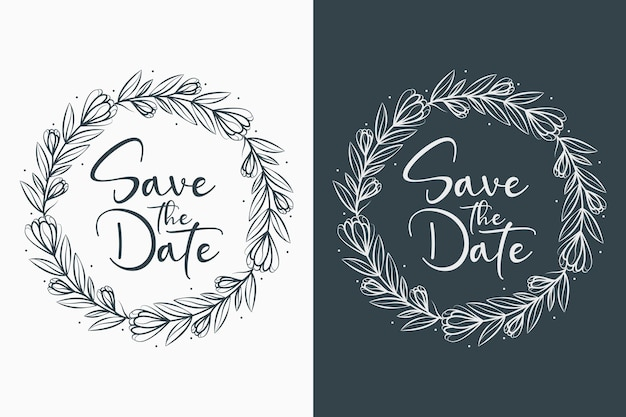 Hand drawn decorative concept beautiful and minimal wedding badges