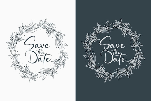 Hand drawn decorative concept beautiful wedding badges with circle style