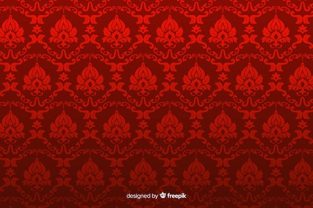 Hand drawn decorative damask background