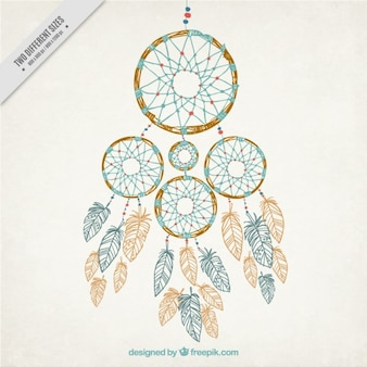 Hand drawn decorative dream catchers background