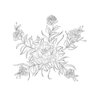 Ручной обращается декоративный элегантный эскиз цветочного дизайна