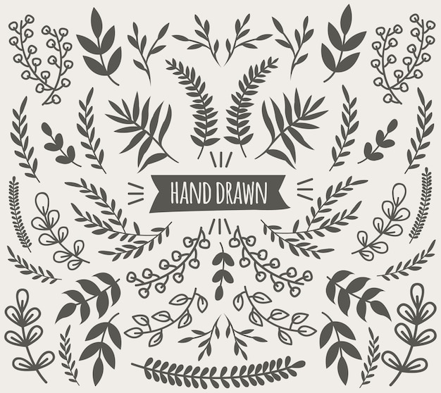 Hand drawn decorative floral elements collection with flowers branches and leaves isolated