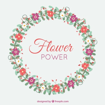 Hand drawn decorative floral wreath