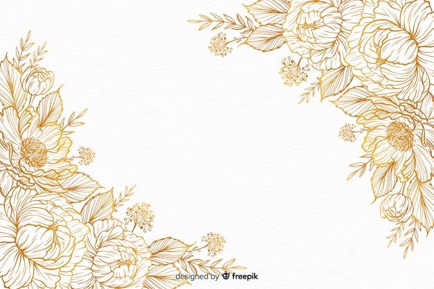 손으로 그린 장식 꽃 프레임