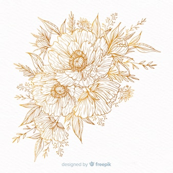 Hand drawn decorative flower wreath