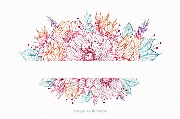 Hand drawn decorative flower wreath