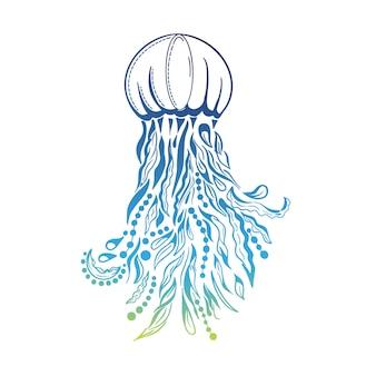 Hand drawn decorative jellyfish doodle. tatoo style sea creature vector illustration.