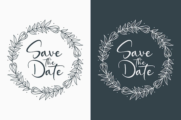 Hand drawn decorative and minimal wedding badges with circle style