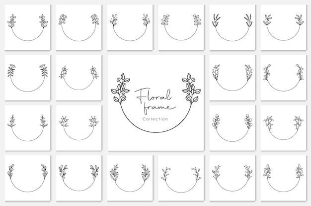 枝、花の丸いフレーム、花の花輪と手描きの装飾的な輪郭を描かれた花輪。