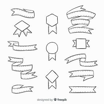 Hand drawn decorative ribbon collection