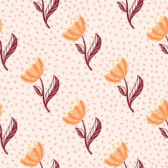 オレンジ色のチューリップの花のプリントと手描きの装飾的なシームレスパターン