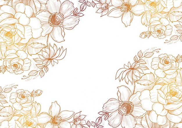 Hand drawn decorative sketch floral background