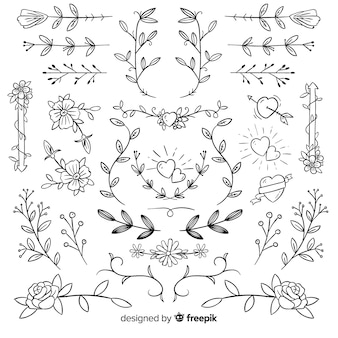 Hand drawn decorative wedding ornaments collection