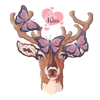 手描きの鹿と蝶