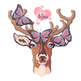Hand drawn deer and butterfly