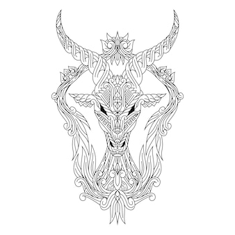 Hand drawn of deer head in zentangle style