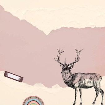 찢어진 된 베이지 색 종이 바탕에 그려진 된 사슴을 손