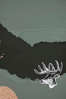 引き裂かれた緑の紙の背景イラストに手描きの鹿
