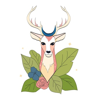 白い背景に葉と花と手描きの鹿