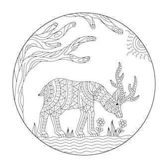 Hand drawn of deer in zentangle style