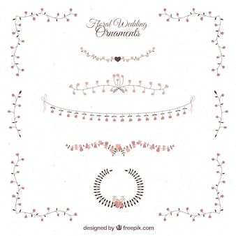 Hand drawn delicated and elegant floral wedding ornaments