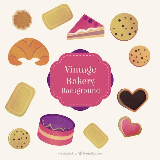 Disegnati a mano gustosi prodotti da forno e biscotti con le torte