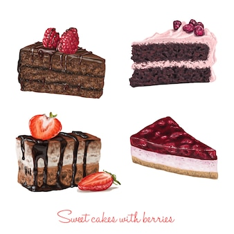 Hand drawn delicious cake slices with fruits