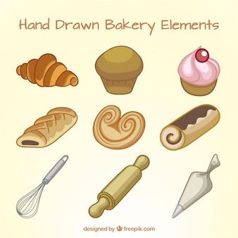 Disegnata a mano deliziosi dessert e prodotti da forno
