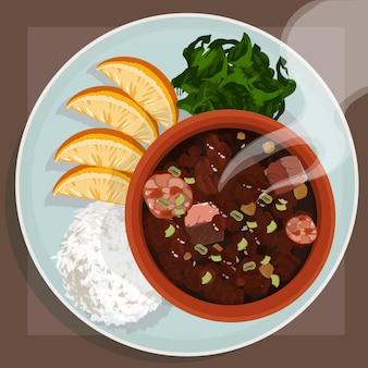 접시에 손으로 그린 맛있는 feijoada