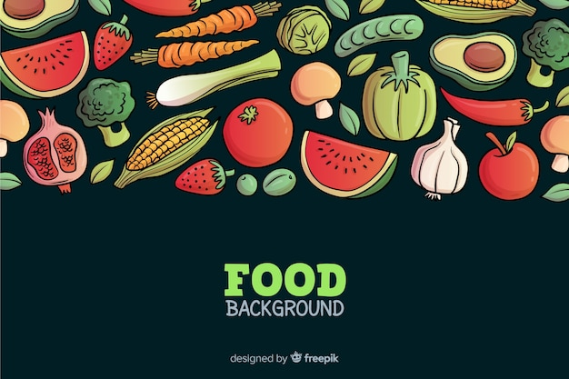 Hand drawn delicious food background