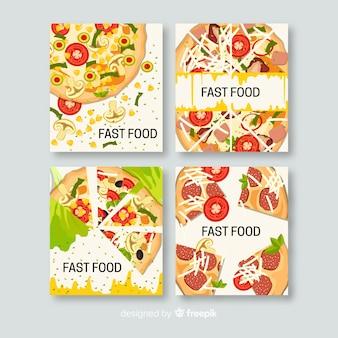 Hand drawn delicious food card set