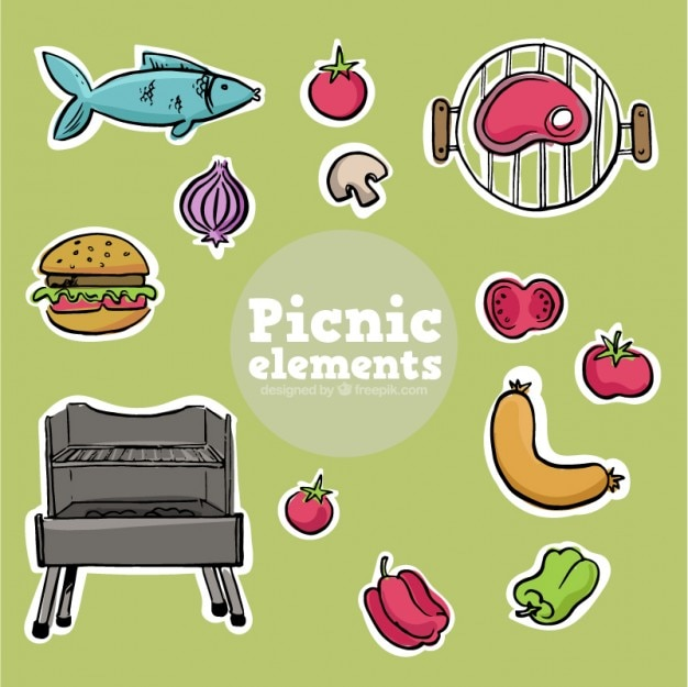 Hand drawn delicious foodtuffs for picnic and bbq