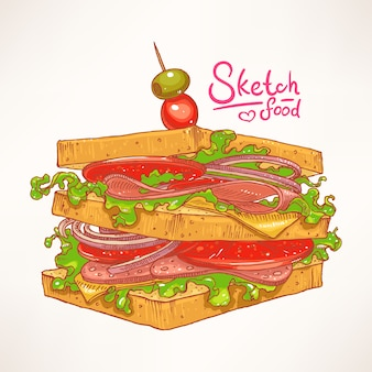 고기, 샐러드, 토마토와 함께 손으로 그린 맛있는 신선한 샌드위치
