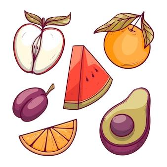 Set di frutta deliziosa disegnata a mano
