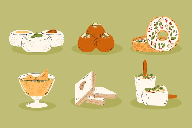 Hand drawn delicious indian sweets set