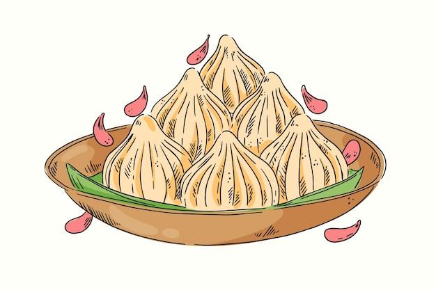 Ручной обращается вкусный модак в миске